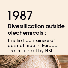 1987 Diversification outside olechemicals : The first containers of basmati rice in Europe are imported by HBI
